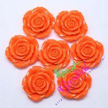 50 Pcs/Lot (F12) Orange 42 MM Chunky Résine Rose Perles de Fleur Avec Des Trous Pour Enfants Filles Bubblegum BRICOLAGE bijoux Décoration(China (Mainland))