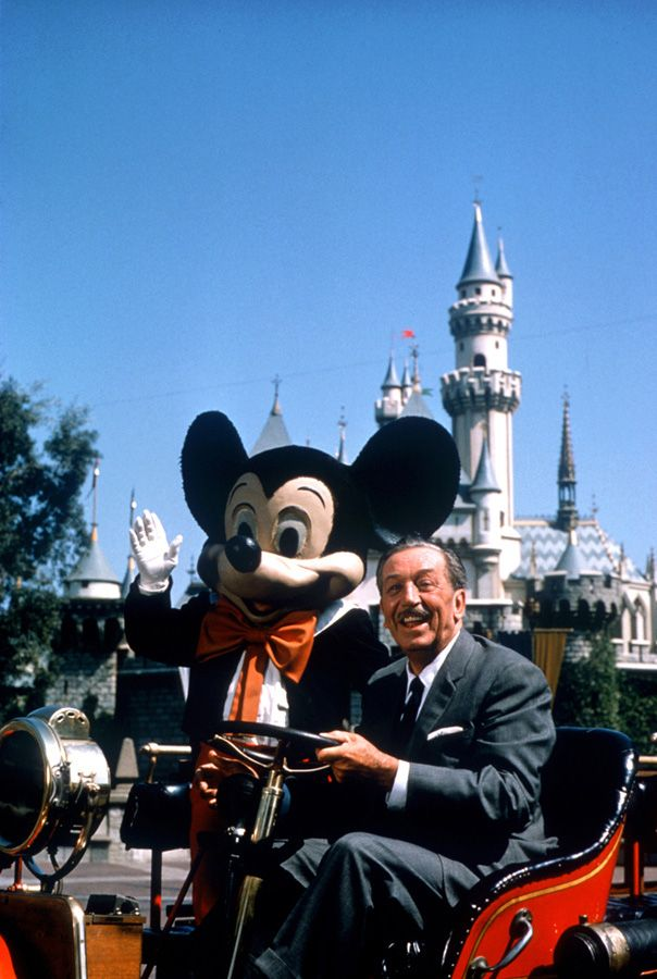 Walt Disney's Last Photo at Disneyland Park -- joined by Mickey Mouse Aboard the Disneyland Fire Department 'Engine No. 1'