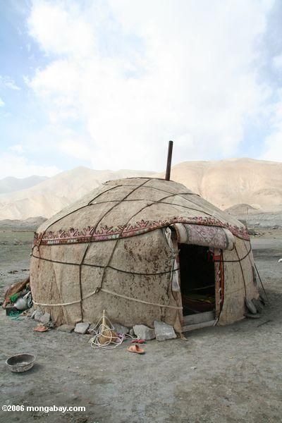 Traditional animal-skin yurt Image Location: Xinjiang (Silk Road region in western China), CHINA Photographer/Camera: Photo taken by Rhett A. Butler