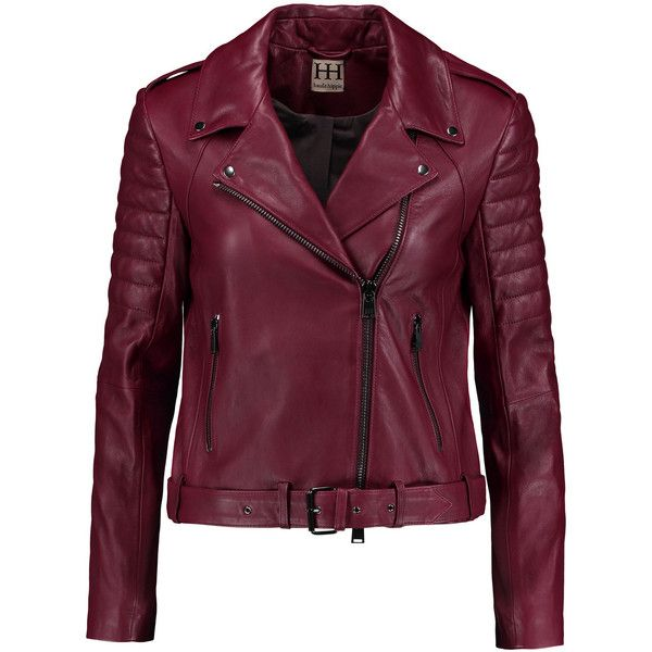 Haute Hippie Leather biker jacket (8,330 MXN) ❤ liked on Polyvore featuring outerwear, jackets, leather jacket, coats, casacos, red, leather moto jackets, purple jacket, rider leather jacket and red jacket