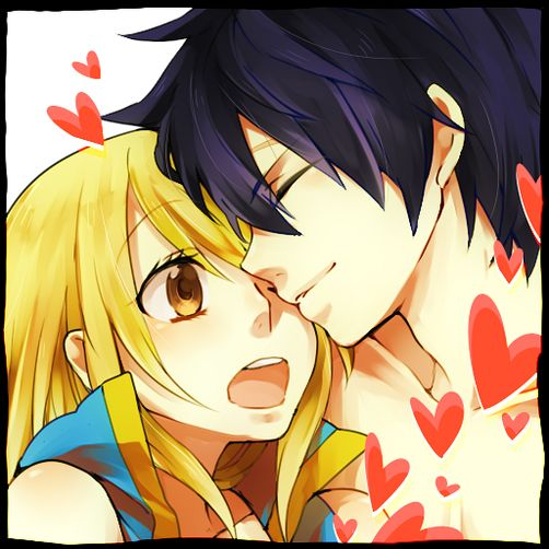 Fairy Tail - Gray and Lucy............ even though I don't like them as a couple, this picture is really cute.