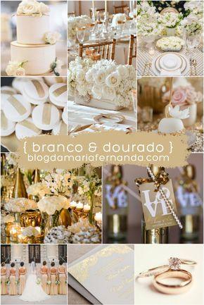 Decoração de Casamento : Paleta de Cores Branco e Dourado   http://blogdamariafernanda.com/decoracao-de-casamento-paleta-de-cores-branco-e-dourado