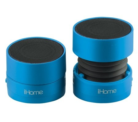 speakers at walmart. these little ihome speakers (smaller than your fist) are the best i have ever found. they $20 at walmart or $25 london drugs. p