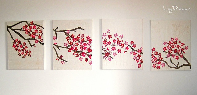 cherry blossom art art pinterest inspiration With what kind of paint to use on kitchen cabinets for cherry blossom tree wall art