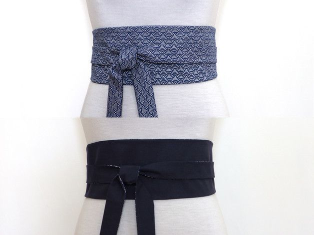 blau Obi Gürtel / blau Taillengûrtel mit  blau weiß  Japanisch Print & Uni dunkel blau - Beidseitig tragbar