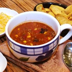 Taco Soup by ModernMom. This is a very low fat recipe if you do not add the toppings. It's also delicious.