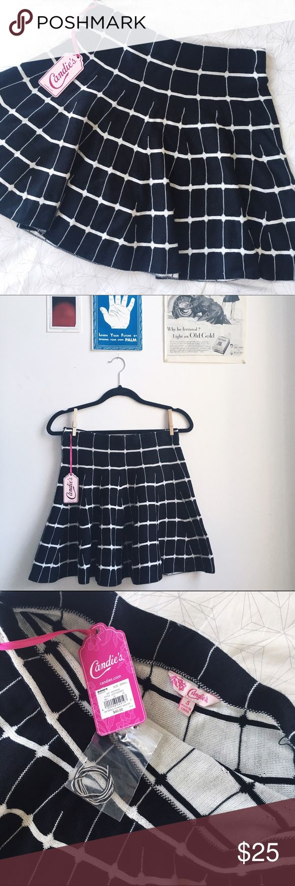 """NWT Candie's B&W Trumpet Skirt I love this little number!! A cool black and white grid-like pattern adorns this sweet and COMFORTABLE thick 100% acrylic """"trumpet"""" skirt by Candie's. The large pleats are so flattering and make it just darling for any weather or body type. Never worn, tags and extra thread still attached! Skirt is 14in across the waistband, 17.25in from waist to hem. Candie's Skirts Circle & Skater"""