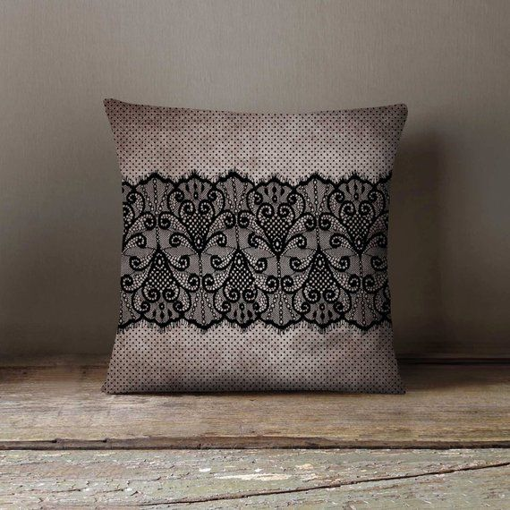 Black Lace Pillowcase Decorative Throw Pillow Cover Cushion Case Designer Pillow Case Birthday Gift Idea For Him Her Home Decor Decorative Throw Pillows Throw Pillows Custom Pillow Cases