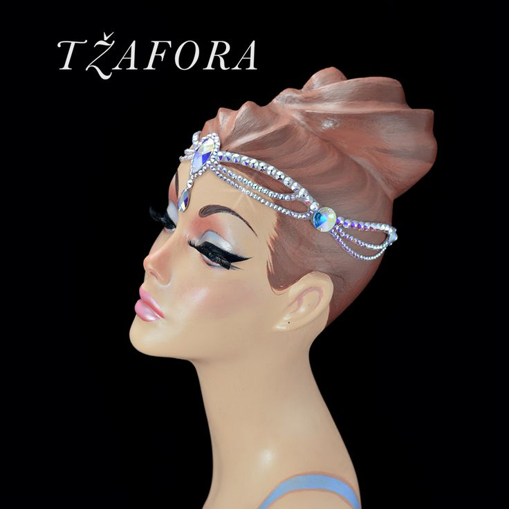 """Saraswati"" - Dancesport accessories. Ballroom hair accessory and ballroom jewelry made with Swarovski, available at www.tzafora.com ©️️ 2017 Tzafora. Handmade in Canada."