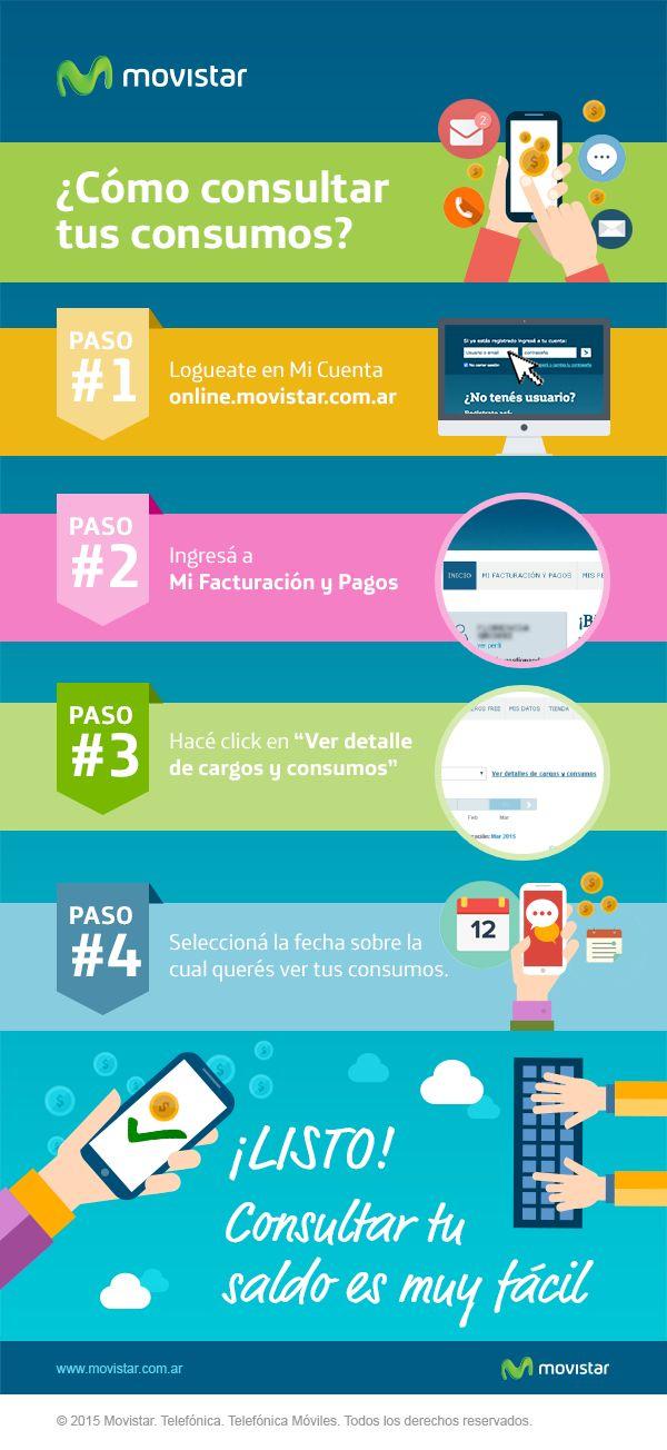 ¿Cómo consultar tus consumos? Accedé a http://online.movistar.com.ar/?utm_source=pinterest&utm_medium=social_media&utm_content=consultaconsumo&utm_campaign=contenidos y seguí los pasos. Si tenés otras dudas, ingresá en http://www.movistar.com.ar/atencion-al-cliente?utm_source=pinterest&utm_medium=social_media&utm_content=consultaconsumo&utm_campaign=contenidos #AtencionAlCliente - #CómoConsultarTusConsumos -  #ConsultarMisConsumos
