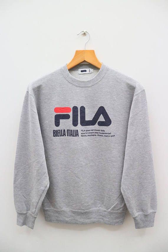 eabbb488b66c Vintage FILA Biella Italia Big Logo Sportswear Gray Pullover ...