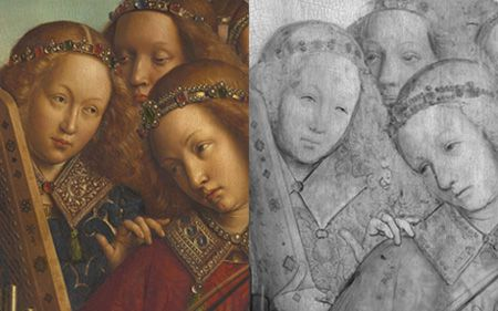 Detail of the Ghent Altarpiece, Hubert and Jan Van Eyck. From the website <i>Closer to Van Eyck: Rediscovering the Ghent Altarpiece</i>.