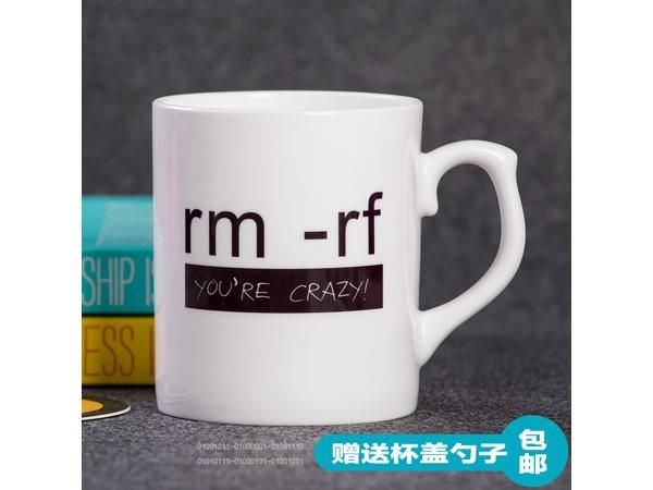 The programmer Linux command RM -rf glass ceramic mug cup
