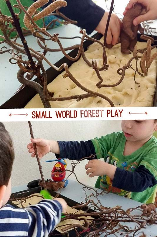 Explore nature by bringing twigs inside for small world play!