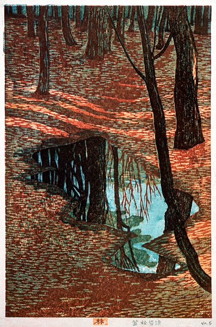 """In the Woods"", by Kasamatsu Shiro, 1955, Woodcut -- see also here: http://www.hanga.com/viewimage.cfm?ID=2831"