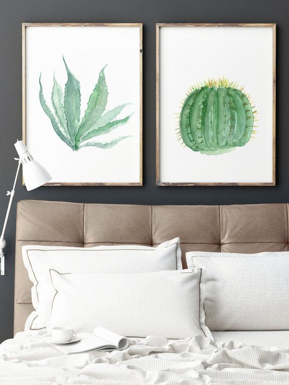 2 Cacti set Watercolour Painting, Green Botanical Kitchen Dining Room Living Room Decoration, Golden Barrel Cactus and Agave Americana Plant