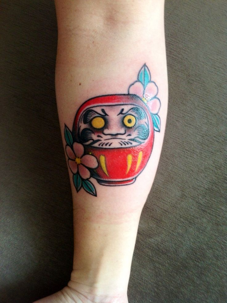 My ��Daruma�� tattoo. Nanakorobi Yaoki is a Japanese proverb, meaning falling down seven times (seven failures), getting up eight times to try again, i.e. life is full of ups and downs. Done by tattoo artist Bruna Yonashiro at Soul Tattoo Art amp; Caf��, S?o Paulo  Brazil tattoo ideas.   tattoos picture japanese tattoo meanings