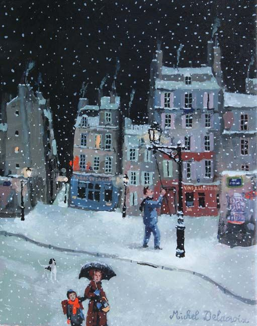 "Michel Delacroix, Retour de l'école, 2014, Acrylic on Canvas, 9.5""x7.5"" #art #painting #acrylic #snow #neige #paris #france #french #winter #snowscape #cityscene"