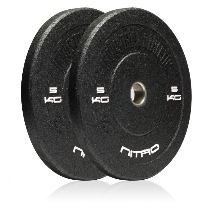 5KG Nitro Bumper Plates - Pair. Recycled Crumb Rubber Olympic Bumper Plates, with chemically bonded 10mm steel inserts.  Medium bounce, and great durability.  Hard-core styling in black.  Bumper plates allow you to safely drop any load from the waist, chest, or even overhead with the confidence that you will not damage yourself, or your equipment.