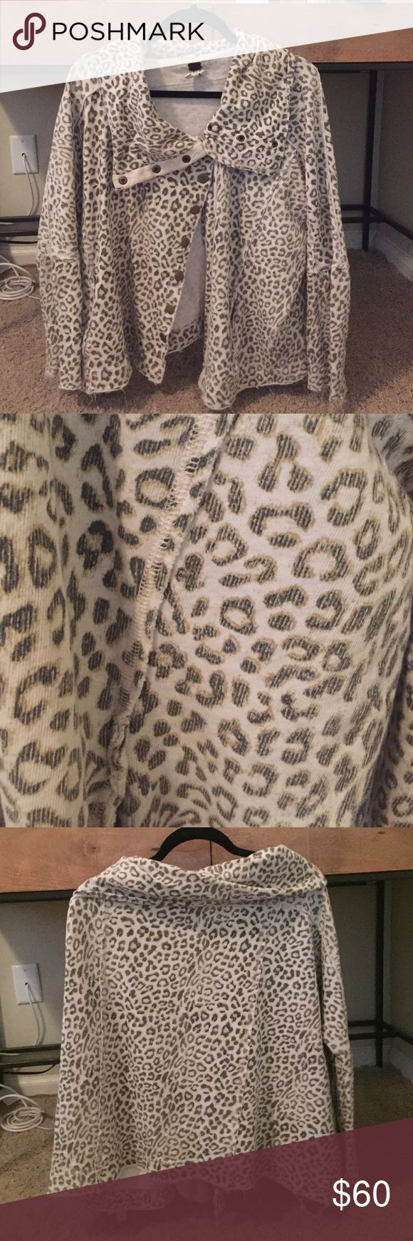 Free People Cheetah Cardigan/Button Up Sweater Free People Cheetah Cardigan/Button Up Sweater - Size Small Free People Jackets & Coats
