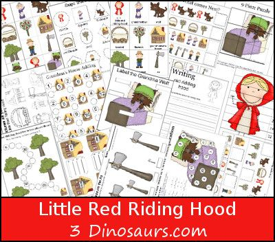 This FREE Little Red Riding Hood Pack was made for kids 2 to 8 or 9. There is some older math work for multiplication and skip counting. Plus the writing pa