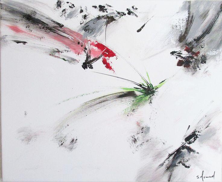 peinture moderne acrylique blanc rose rouge gris noir sur ch ssis toile coton 46 x 38 cm toile. Black Bedroom Furniture Sets. Home Design Ideas