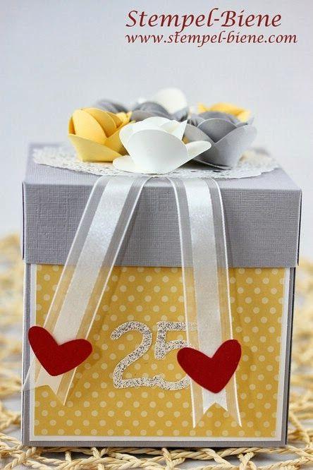 Stampin Up für immer dein, Hochzeitsgeschenk basteln, Explosionsbox zur Hochzeit, Stampin Up Herzstanze, Geldgeschenk zur Hochzeit, Geldgesc...