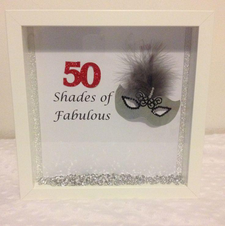 Birthday 50 shades of grey themed box frame