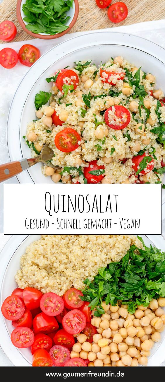 Vegan quinoa salad with tomatoes and chickpeas   – SOMMER REZEPTE  | summer recipes