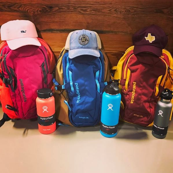 Product: Patagonia Backpacks, Hydroflasks, Vineyard Vines Hat, HCO Hat, and State Traditions Hat. Instagram: haysco_outfitters