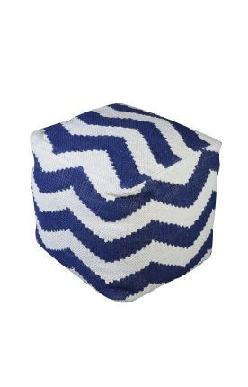 Rugs Usa Poufs Cotton Chindi Chevron Pouf Blue Ottoman Discount Home Decor Interior