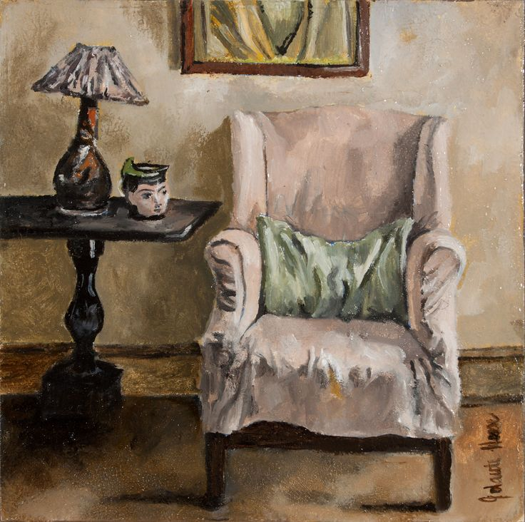 Jolante Hesse - Reading Chair; oil on wood; 18x18cm
