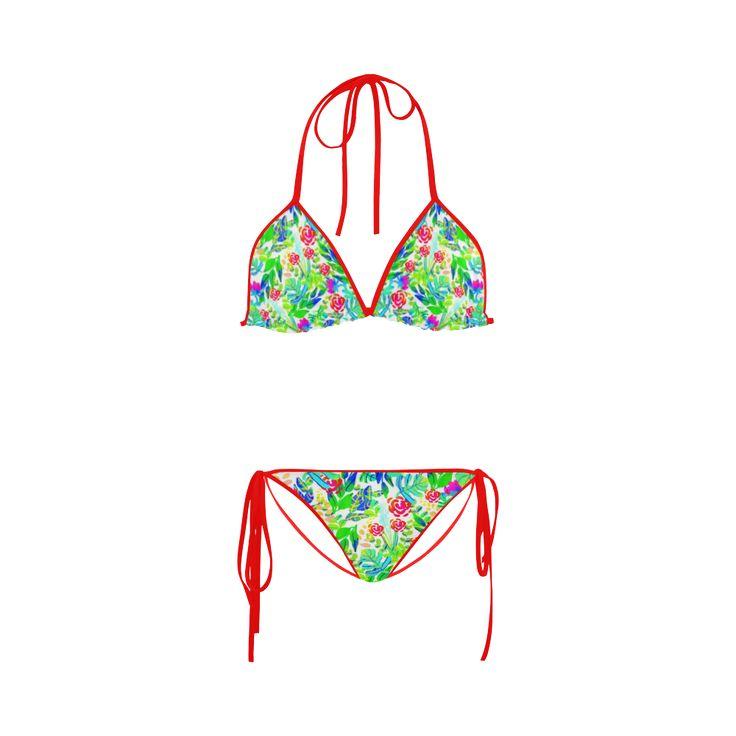 Cute Tropical Watercolor Flowers Custom Bikini Swimsuit