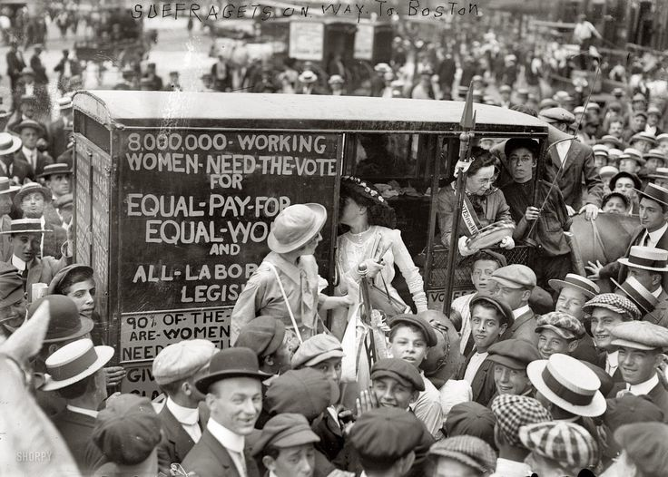 "New York, August 1913. ""Suffragettes on way to Boston."" Our second look at the ""suffrage caravan"" campaign for women's voting rights. Which seems to have drawn quite a crowd. 5x7 glass negative, G.G. Bain Collection. (via Shorpy Historical Photo..."