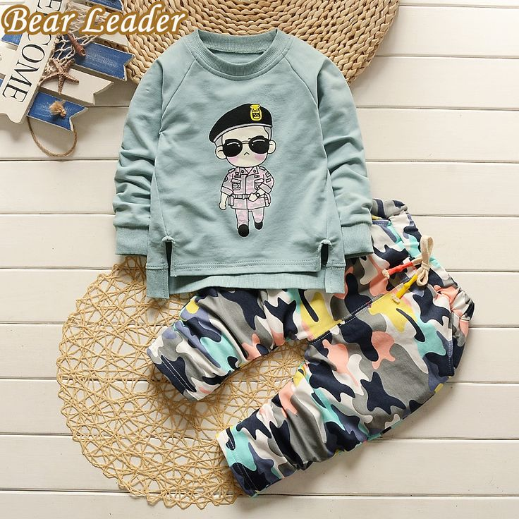 Baby Clothing Sets Long-sleeve Baby Boys Girls Clothes Cartoon Shirt +Camouflage pants 2pcs Kids Clothing Set