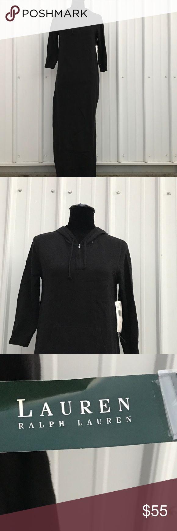 """Lauren Ralph Lauren Black Knit Maxi Dress Pull over, hooded, long sleeve, black knit maxi dress. 18 1/2"""" chest, full length. Lauren Ralph Lauren Dresses Maxi"""