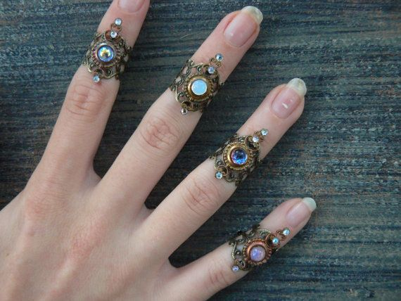 knuckle ring CHOOSE ONE armor ring SALE 14.50 nail ring claw ring  finger tip ring  vampire goth victorian moon goddess pagan boho gypsy on Etsy, $14.50