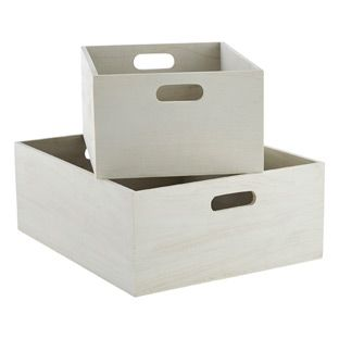 Whitewashed Wood Bins from container store  - for underneath entry bench - could use two large ones - $24.99 each
