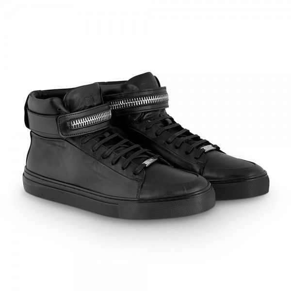 All Black Leather High Top Sneaker - BALR.