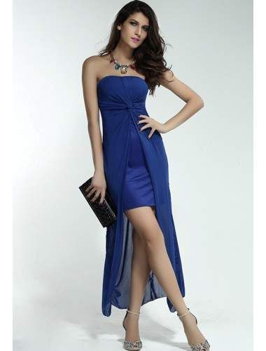 Strapless Dress with Draped Top Sheet Blue | buy sexy Club Dresses , Club wear online in india | StringsAndMe