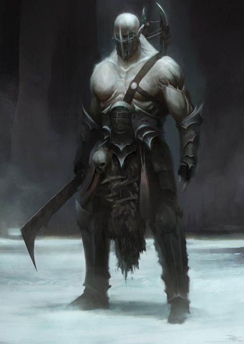 """quarkmaster: """"  The Orc Here's my latest piece for a character design lecture. With this image, I wanted to show the full painting process, beginning in greyscale, moving into colour, adding in some photos/textures and then a lot of over painting to..."""