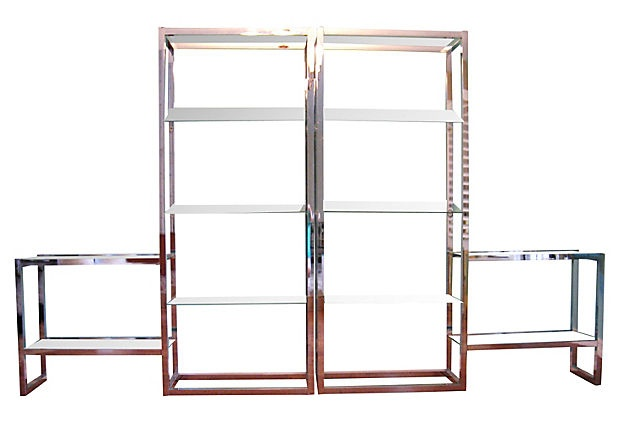 1970s Chrome Shelves, Pair on OneKingsLane.com: Chrome Shelves, Future Apartment, Silver Spoons, Modular Shelves, Chrome Modular, 1970S Chrome