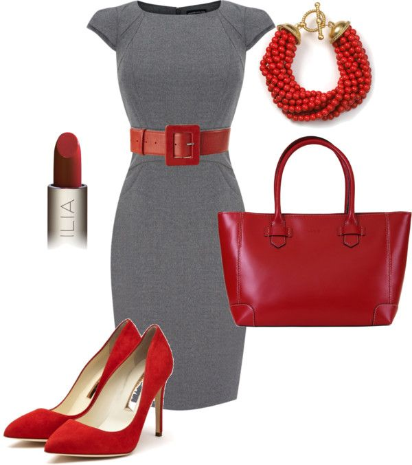 """Red/Gray Work Outfit"" by jessa-schnell ❤ liked on Polyvore"