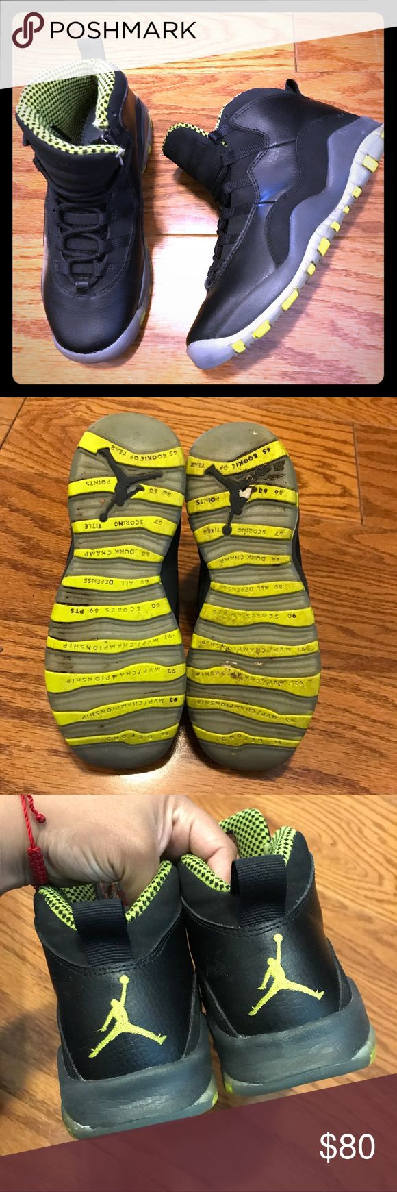 Nike Air Jordan Retro 10 Venom Green Youth Sneaker Size- US 5Y youth  Condition- Missing insoles, otherwise normal signs of wear, see pictures. Air Jordan Shoes Sneakers