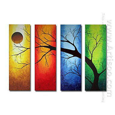 Hand-painted Abstract Oil Painting - Set of 4 -Canvas Sets