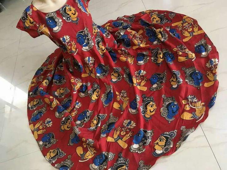 Kalamkari silk anarkalis Size L, Xl *Inner crape* no bottom no dupatta Lenth 48 to 49 inches Price:2200