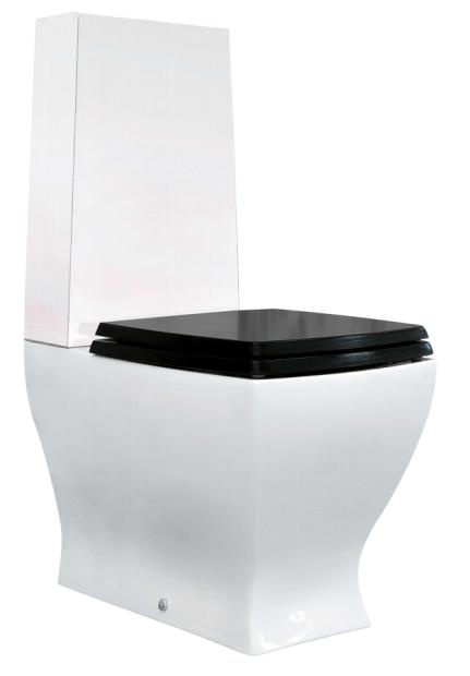 Parisi Jazz White Back-To-Wall Toilet Suite with Black Seat