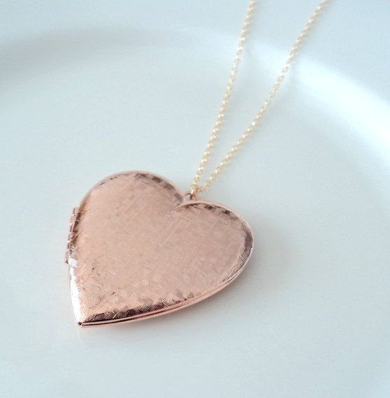Rose gold heart locket gold fill chain by blackandwhitejewels, $38.00 I love how simple it is