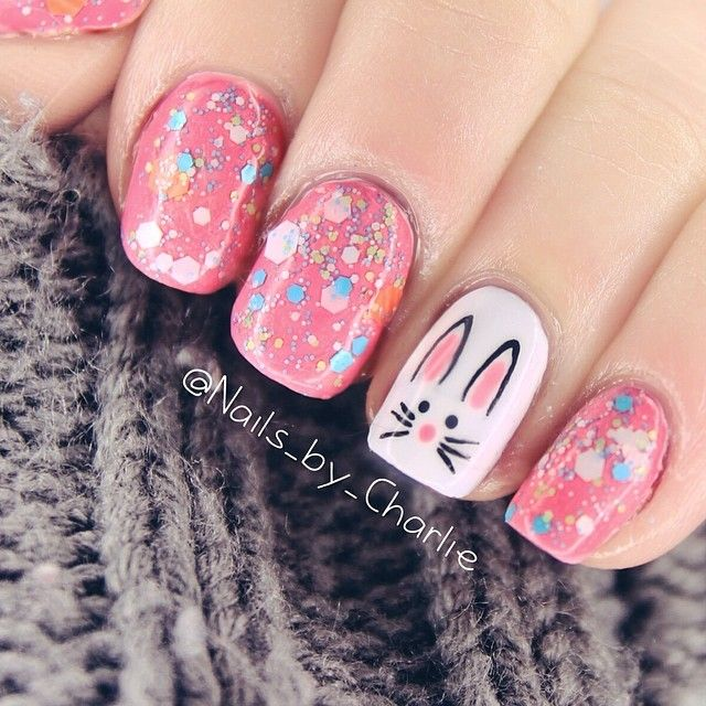 easter bunny glitter nails_by_charlie