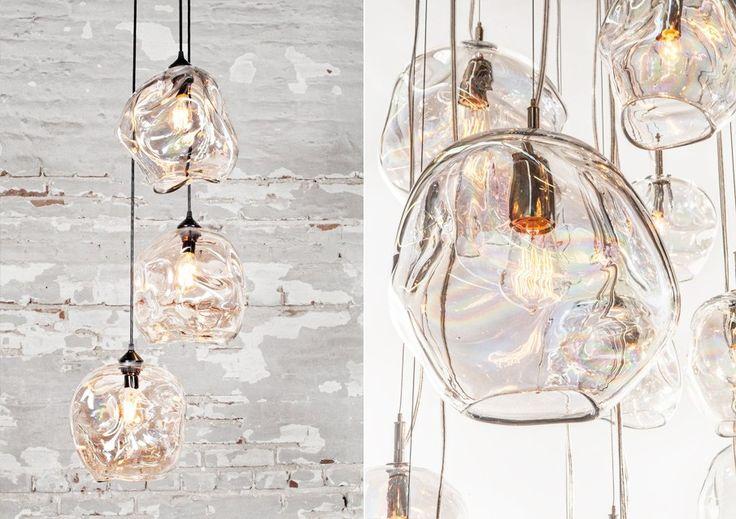 Дизайнерские подвесные светильники в виде помятых шарообразных цилиндров из стекла
